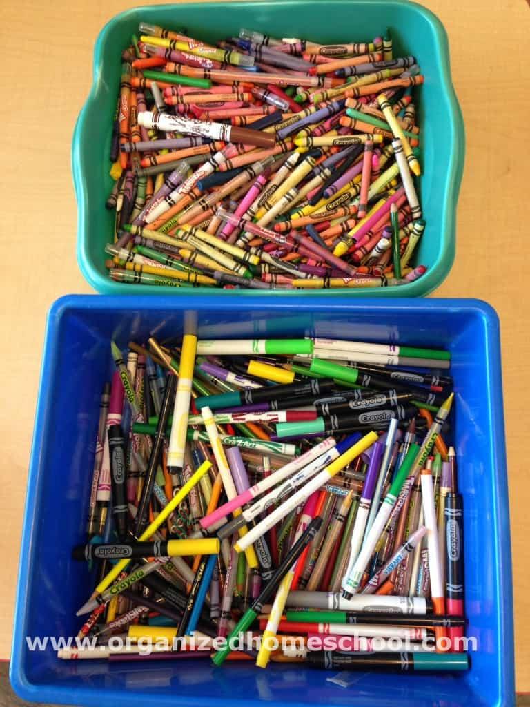 Homeschool room crayon mess