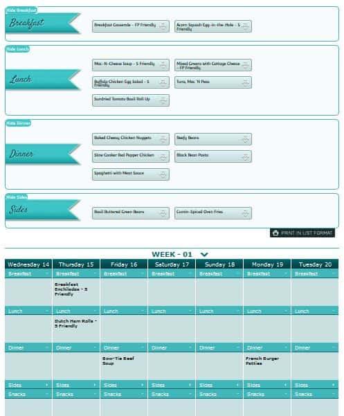 build a menu calendar