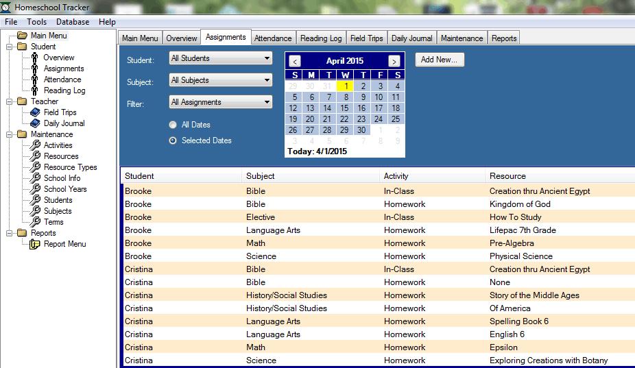 homeschool tracker assignments