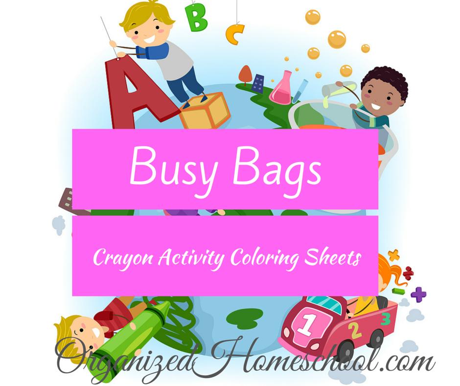 Busy Bag Ideas crayon activity coloring sheets
