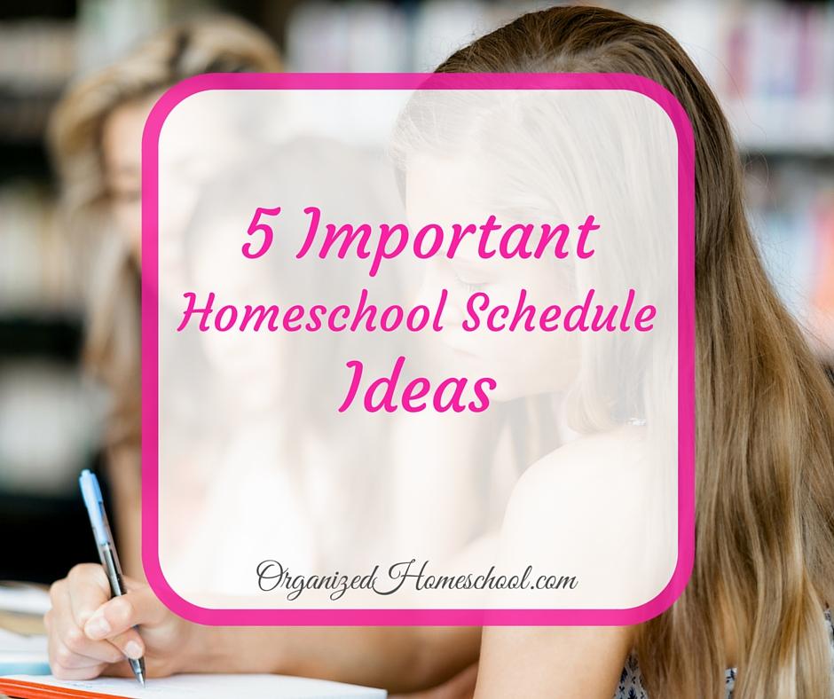 5 Important Homeschool Schedule Ideas