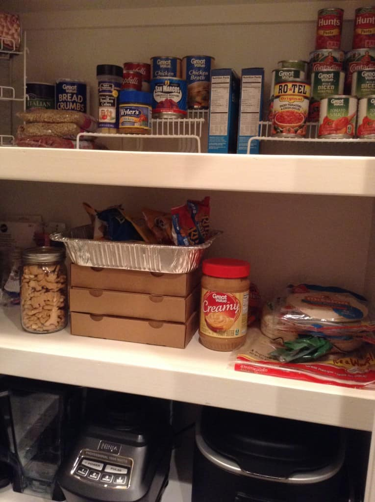 organized pantry snack shelf