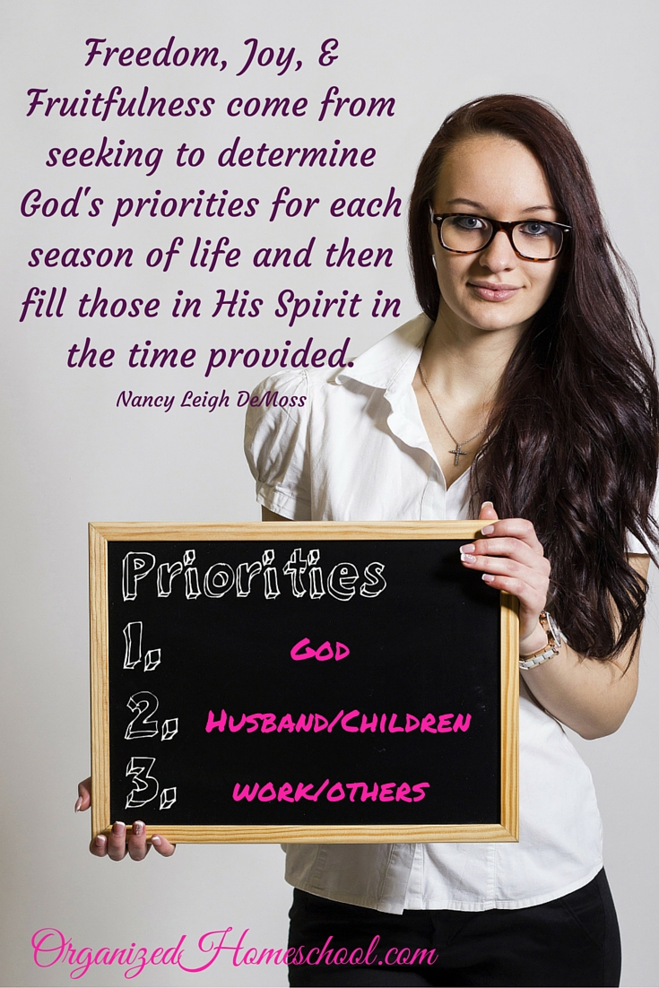 determine Gods priorities for each season of life