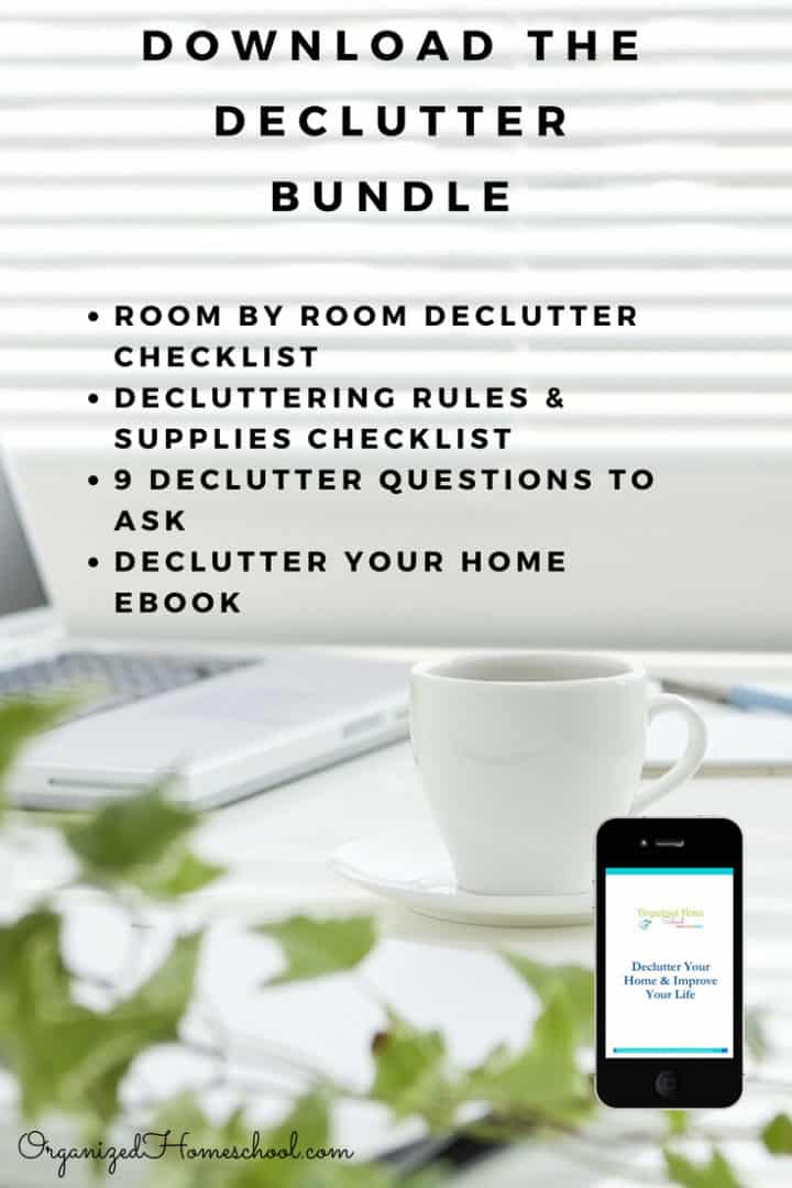 Download the declutter bundle which includes an ebook, a room by room declutter checklist, decluttering rules and supplies checklist, and 9 decluttering questions to ask yourself when trying to process all the mess!