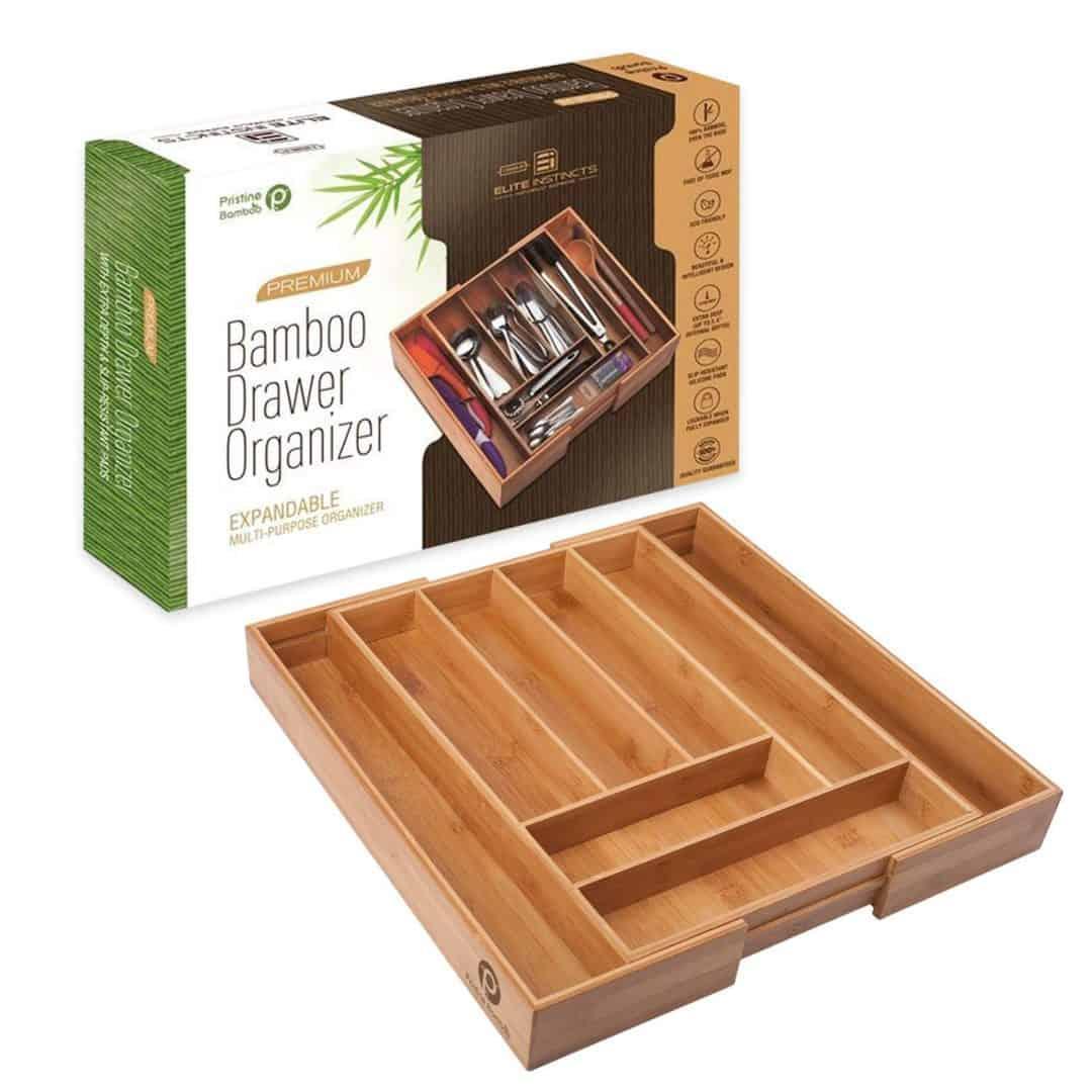 Bamboo kitchen drawer organizer utensil drawer