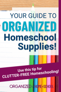 Using baskets is a great way to organize homeschool supplies. Each child can have their own and they're easy to move around the house. You should try using them.