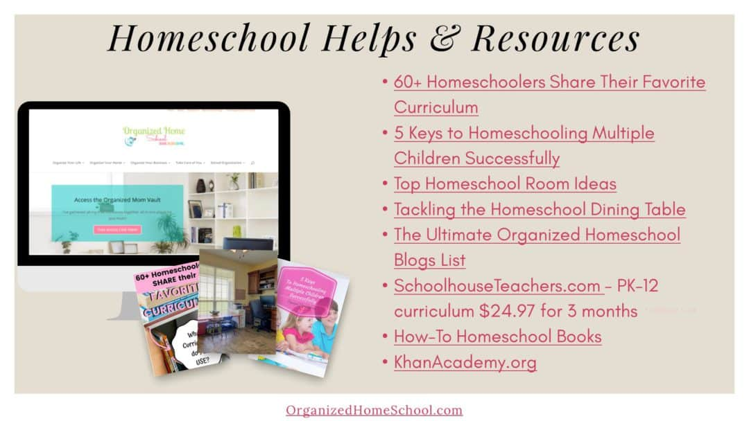 homeschooling help and resources for work at home parents