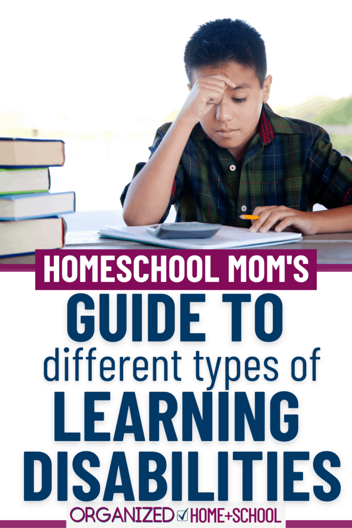 Do you suspect your homeschooler's academic struggles are related to some type of learning disorder? This concise list explaining the different types of learning disabilities will help you understand what you might be dealing with.